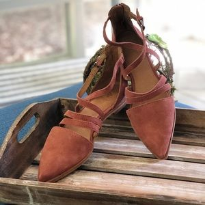 Frye Kenzie Moto Strappy Pointed Suede Flats NEW